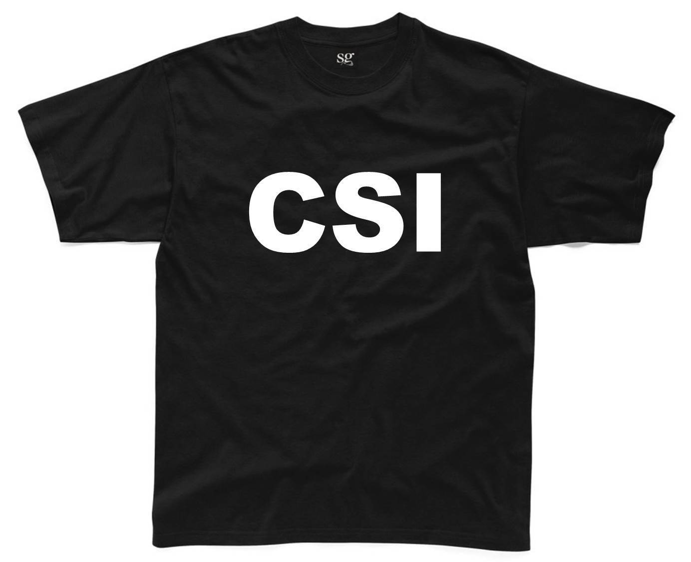 CSI Ladies T-Shirt 8-16 Black Funny Printed Fancy Dress Costume Joke Top Police