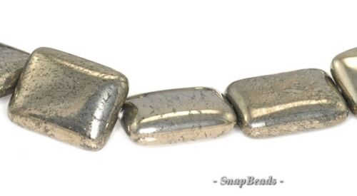 18X13MM PALAZZO IRON PYRITE GEMSTONE RECTANGLE 18X13MM LOOSE BEADS 15.5/""