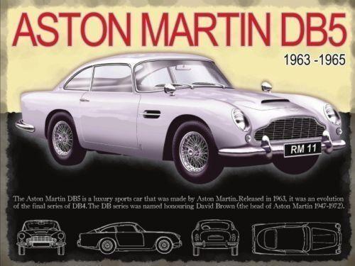 Aston Martin DB5, Classic Sports Car, James Bond, Medium Metal Tin Sign, Picture