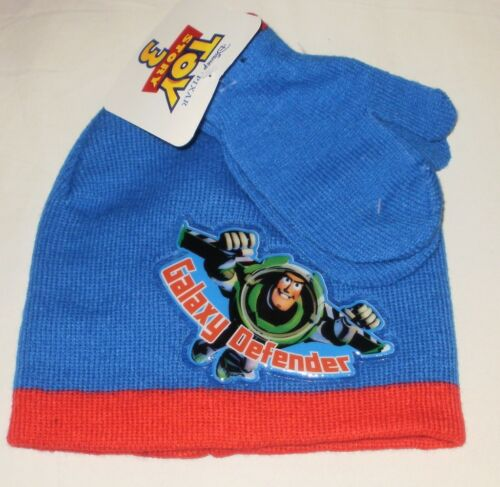 DISNEY TOY STORY 3 BUZZ Blue /& Red KNIT HAT AND MITTENS