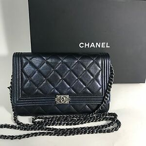 291fffb2110a Details about CHANEL Le Boy Quilted Pearl Navy Blue Lambskin WOC Wallet On Chain  Silver Hrdw