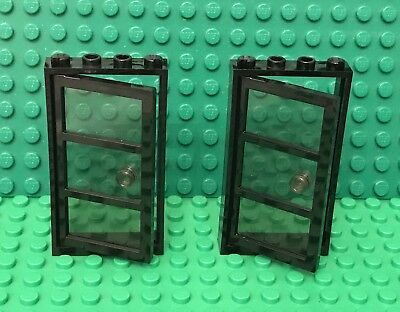 Lego 1x4x6 Frame Red with Clear Glass Window Door with Stud Handle Lot of 1 Set