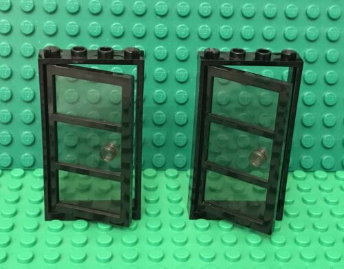 Lego X2 Trans-Black Glass Door 1x4x6 W// 3 Panes And Stud Handle And Black Frame