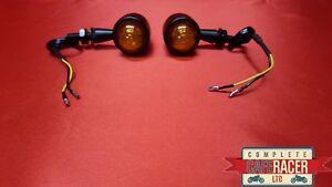 PAIR CAFE RACER INDICATORS LED CHROME METAL CASE CLEAR LEDS F5