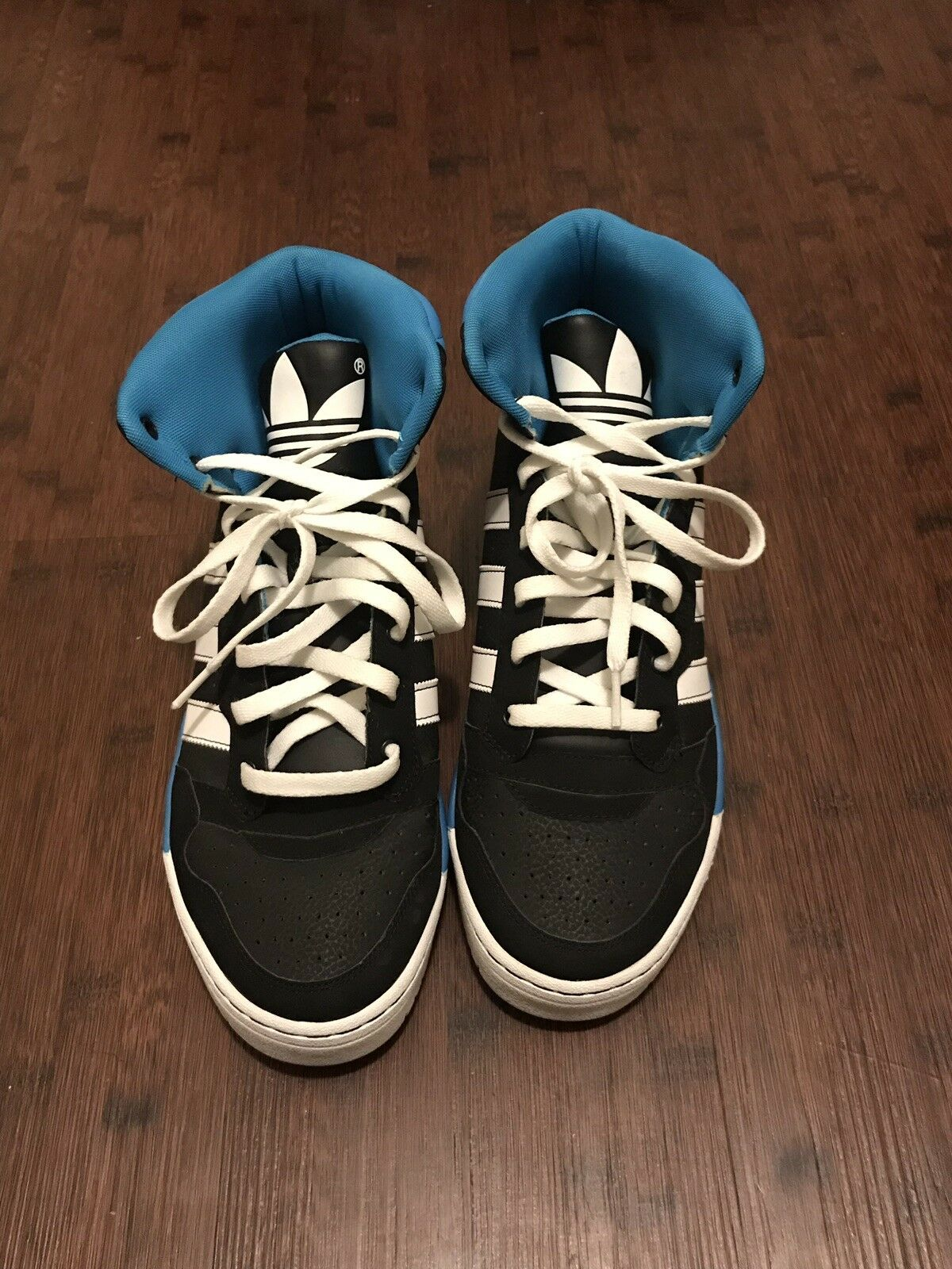 Black And bluee High Top Adidas Size 11.5