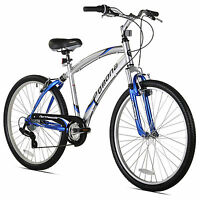 Northwoods Pomona 26 Men's 7 Speed Dual Suspension Fitness Cruiser Bike, Blue