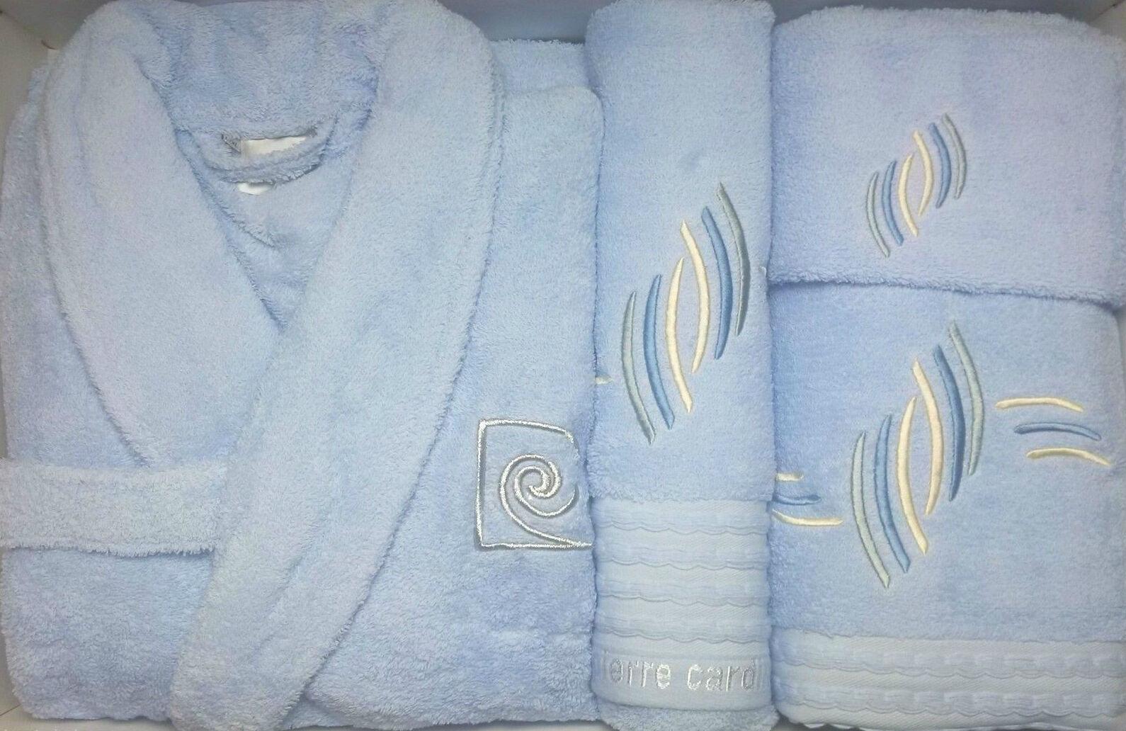 Pierre cardin l xl luxe 4 pièces peignoir serviette set de broderie bleu ciel vagues