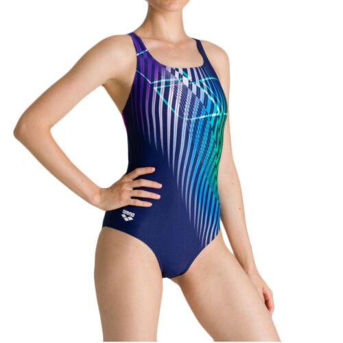 arena Badeanzug Schwimmanzug Damen W Optical Waves chlorbeständig einteiler