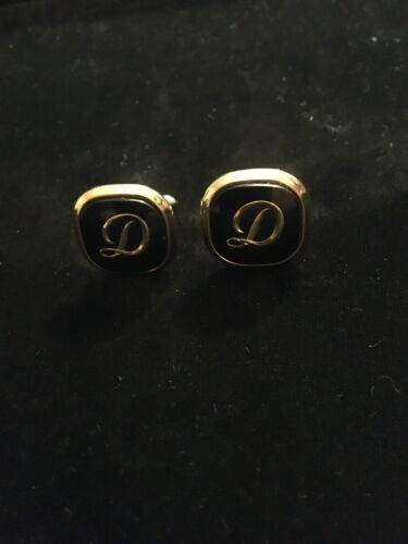 Vintage Gold Tone Rolled Barbell Style Cursive Monogramed D Cufflinks