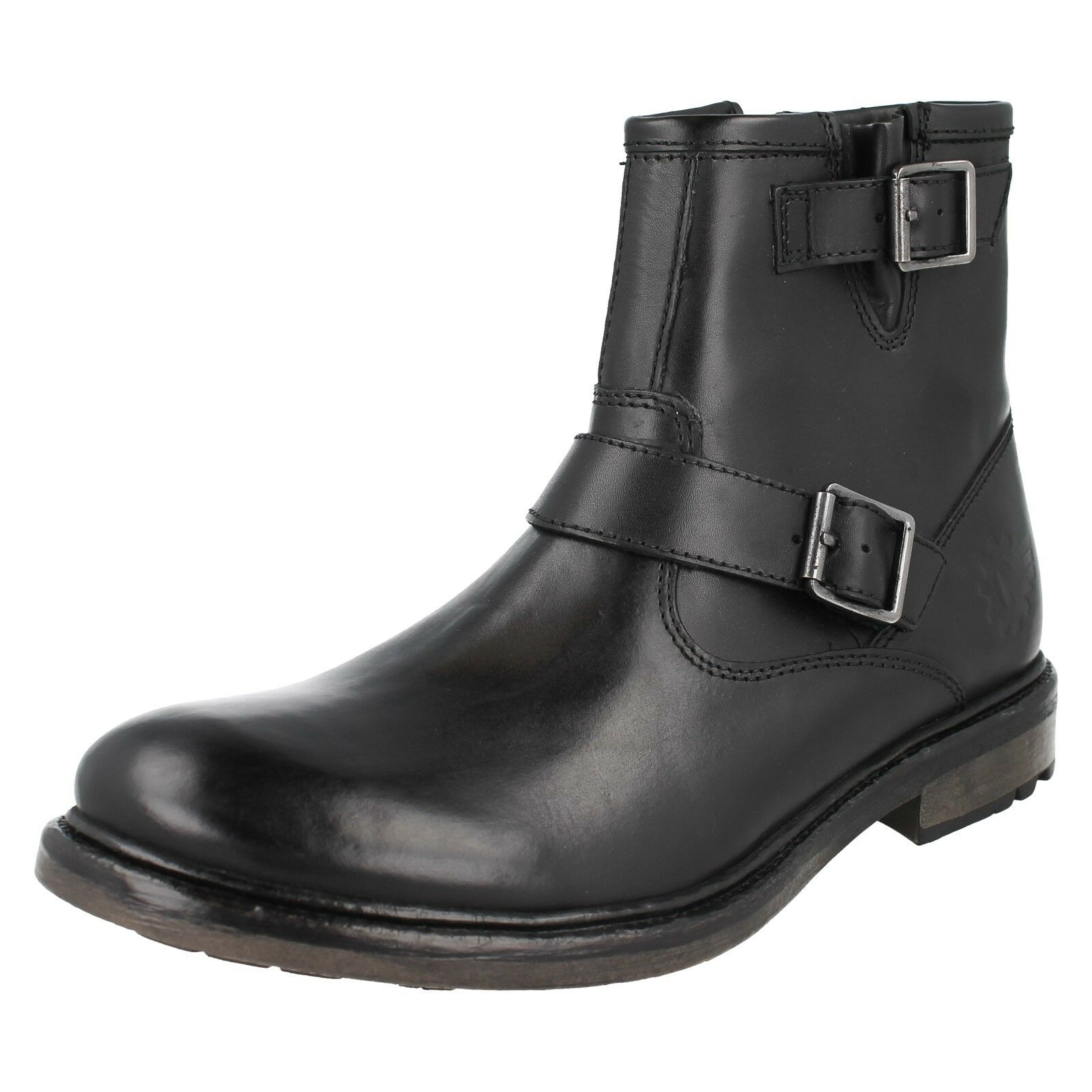 MENS BASE LONDON ZINC PLAIN BLACK LEATHER BUCKLE ZIP UP CASUAL MOTOR ANKLE BOOTS