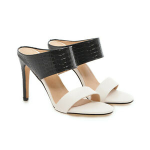 48 47 46 High Heel Damen Stilettos Peeptoe loafer Sommer Pantoletten Sandaletten