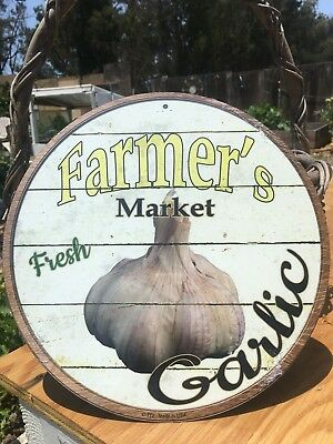 Farmers Market Fresh Corn Round Sign Tin Vintage Garage Bar Decor Old Rustic