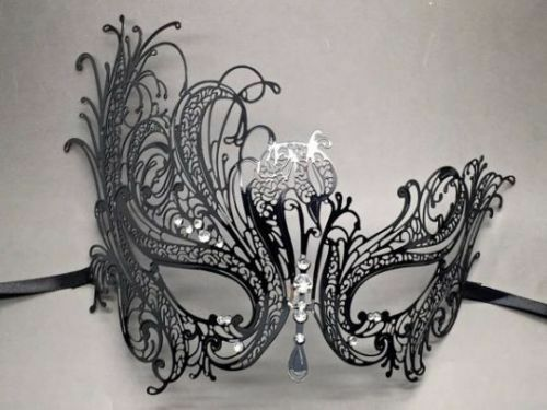His Her Masquerade Costume Traditional Party Match Black Mask