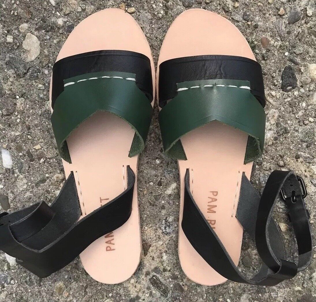 Pam Left Pam Right Source Pelle Sandals Handmade In NYC Size 5 W/ Ankle Strap