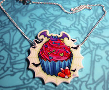 CREEPY CUPCAKE PENDANT NECKLACE GOTHIC BATS