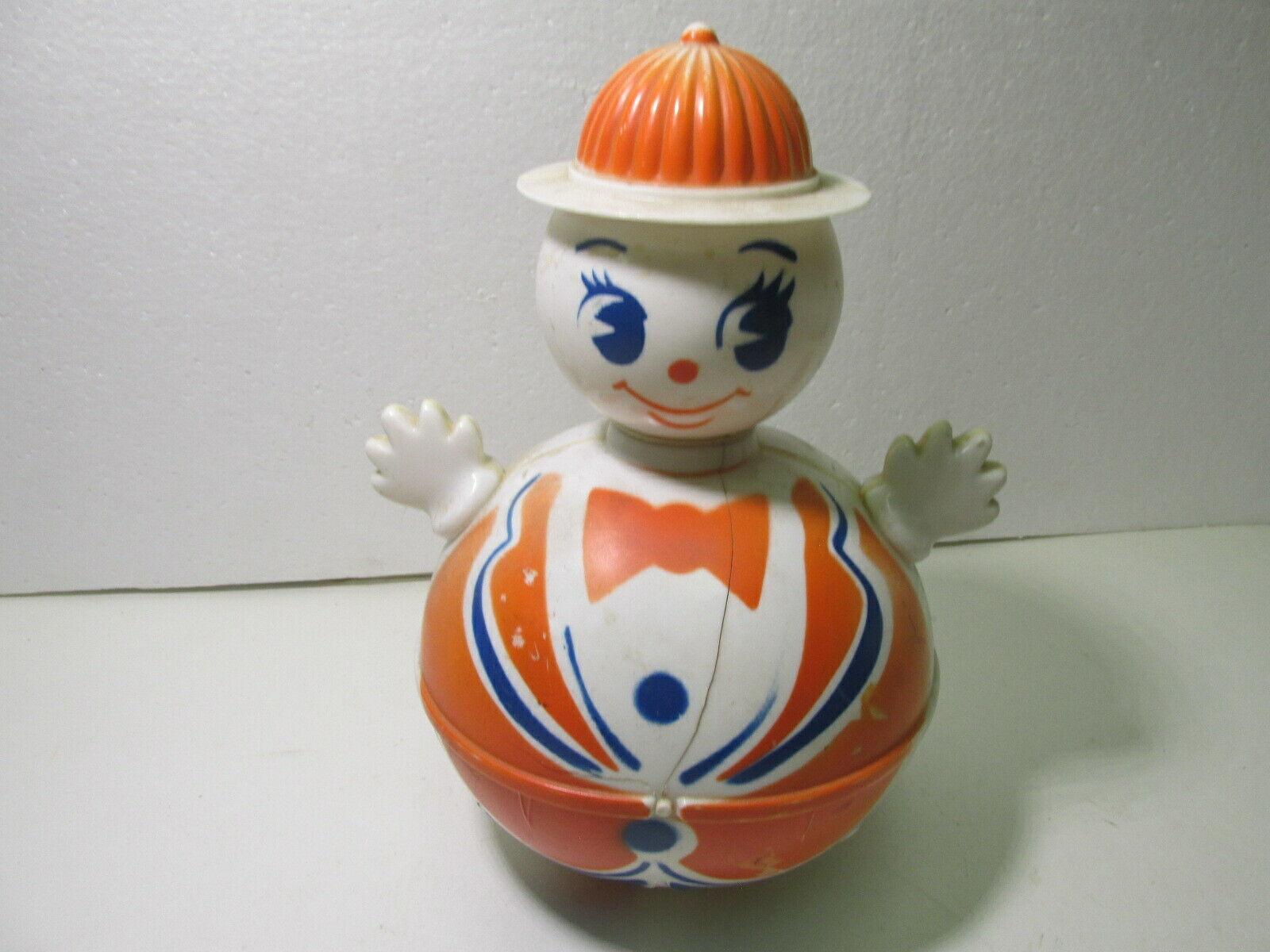 Vintage Arancione e Blu Advertising Plastica Ovetto Wobble Mascotte con Cappello