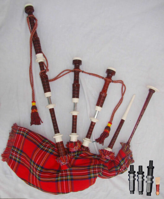 Scottish GREAT HIGHLAND BAGPIPES Silver mounts Rosewood│Various Tartan Bagpipes