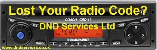 Blaupunkt Radio Decodificar Desbloqueo de código por número de serie-entrenador CRC CRD 41 42