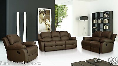 NEW VALENCIA  3+2+1 SEATER SETTEE LEATHER RECLINER SOFAS BLACK,BROWN & CREAM