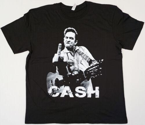 JOHNNY CASH T-shirt Man In Black Flippin Bird Finger Tee Men S-3XL Black New