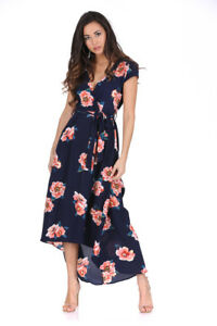 ee3024fe34cd AX Paris Womens Navy Floral Midi Dress Tie Waist Short Sleeve Wrap ...