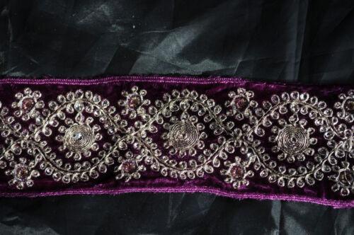 "2.3//4/"" Braid//Gimp /& Sequin Detail 70mm Wide Stunning Velvet Trim 1 Metre"