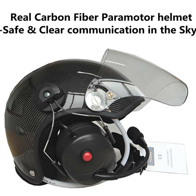 Carbon fiber paramotor helmet with noise canceling headset powerosso paragliding