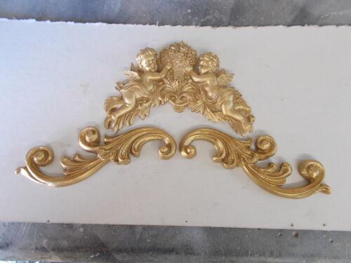 SET OF MÖBEL ZIERLEISTE PAAR VON KUNSTVOLL SCHNÖRKELN AND ENGELCHEN ANTIK GOLD