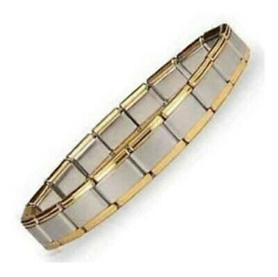 EDGES 18 Charms Links 9mm Italian Charm Starter Bracelet SHINY with GOLD TRIM