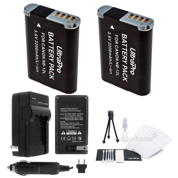 2x De Remplacement Nb-12l Batterie + Chargeur Pour Canon Powershot G1 X Mark Ii Exquis (En) Finition