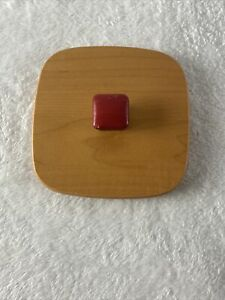 """Longaberger Woodcrafts 4.75"""" Square Lid with Red Knob"""