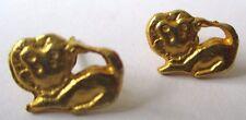 boucles d'oreilles percées bijou vintage clous plaqué or petit lion enfant 476