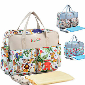 Multifunction Mummy handbag Baby Diaper Nappy Changing Mat Big Floral Mother Bag