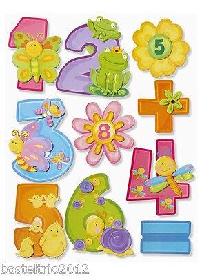 Zusatzsticker Blumen,Minus,Plus,Mal,geteilt 3D-Bogen Sticker Zahlen XXL 1-10