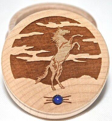Horse Trinket Box  Carved Wooden box Lapis Lazul gemstone