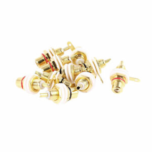 10-Pcs-Gold-Plated-RCA-Female-Jack-Socket-Bulkhead-Soldering-PCB-Mount-Connector
