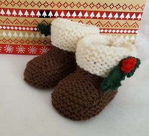 Knitting pattern dk 71 to knit christmas pudding baby booties in 3 image is loading knitting pattern dk 71 to knit christmas pudding dt1010fo