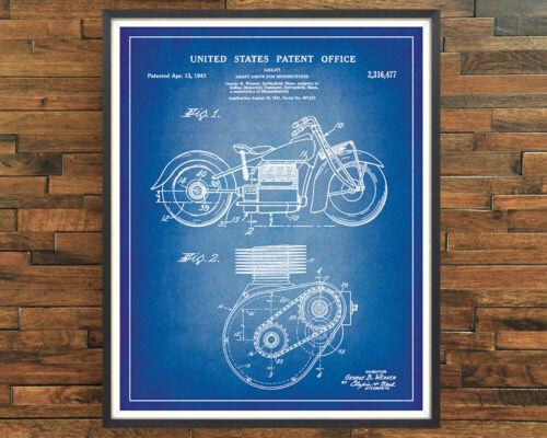 Unidad De Eje De Motocicleta India Decoración de impresión de Patente Cartel Vintage Regalo Pared Arte
