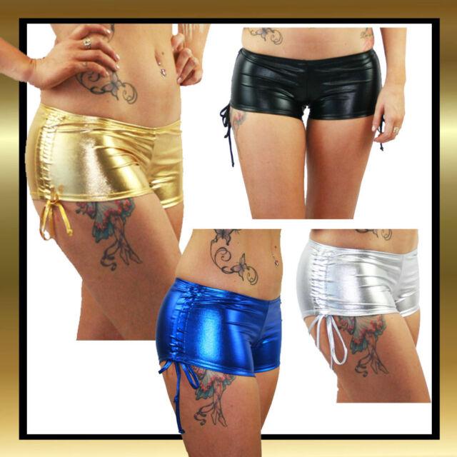 Juicee Peach Metallic Wet Look Hipster Tie Side Pole Dancing Shorts