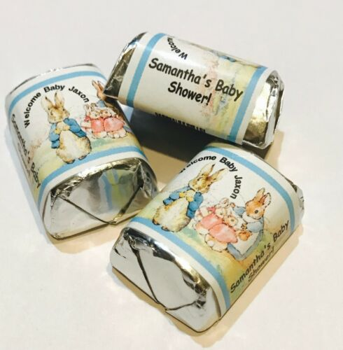 30 PETER RABBIT PERSONALIZED HERSHEY NUGGET WRAPPERS BABY SHOWER PARTY FAVORS