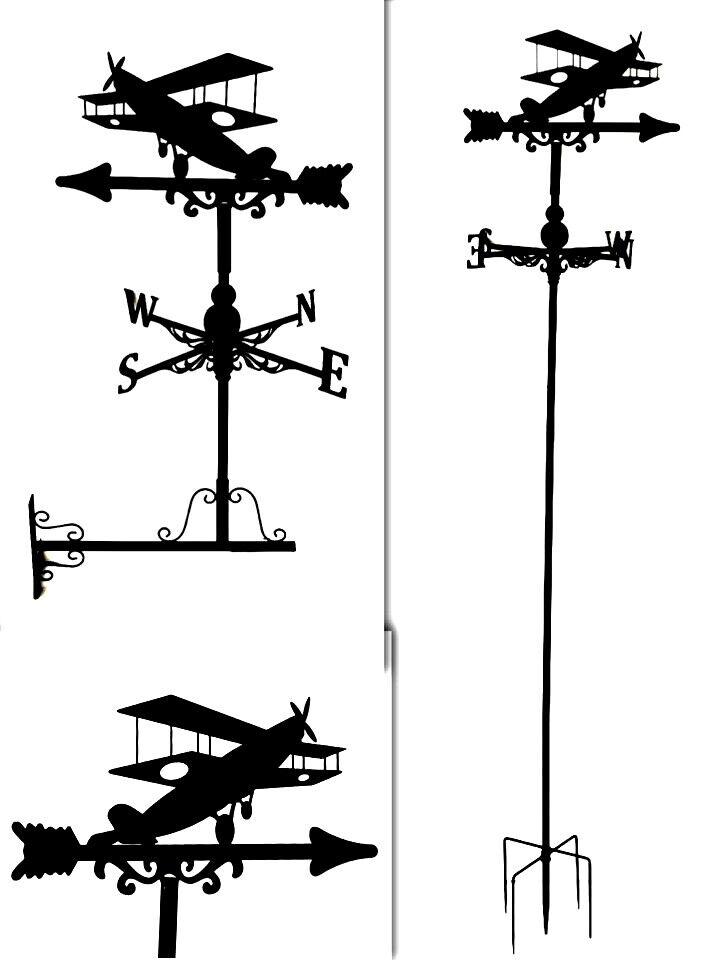 Metal Weather Vane Wind Wheel Garden Stake British Aeroplan Ornament decor