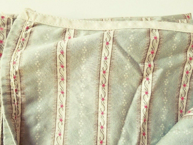 Ralph Lauren Coco Palm Königin Flat Sheet Sage Grün Floral Stripe