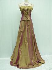Cherlone Gold Ballgown Long Prom Bridesmaid Formal Wedding Evening Dress 12-14
