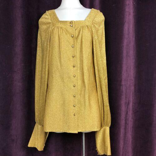 Vintage Blouse top POET sleeves GOLD Lurex Avant G