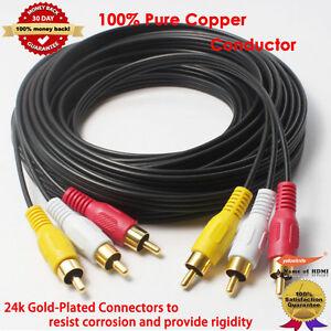 7-6M-Gold-3RCA-Male-Male-Composite-Audio-Video-TV-Adapter-Cable-Cord-HDTV-HIFI