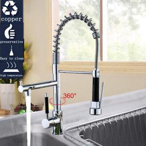 360° Spültisch Küchenarmatur Einhebelmischer Spiralfeder Brause Wasserhahn  DHL