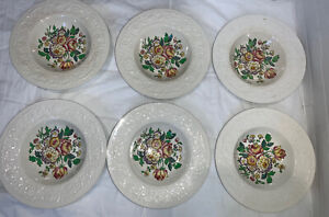 "Set Of 6 Booths Silicon China England Corinthian Larkspur VTG 8"" Soup Bowls"