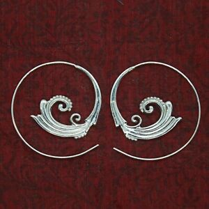 Creolen-Durchzieher-Ohrringe-Echt-Silber-925-Spirale-Elfen-Schmuck-Tribal-ETS