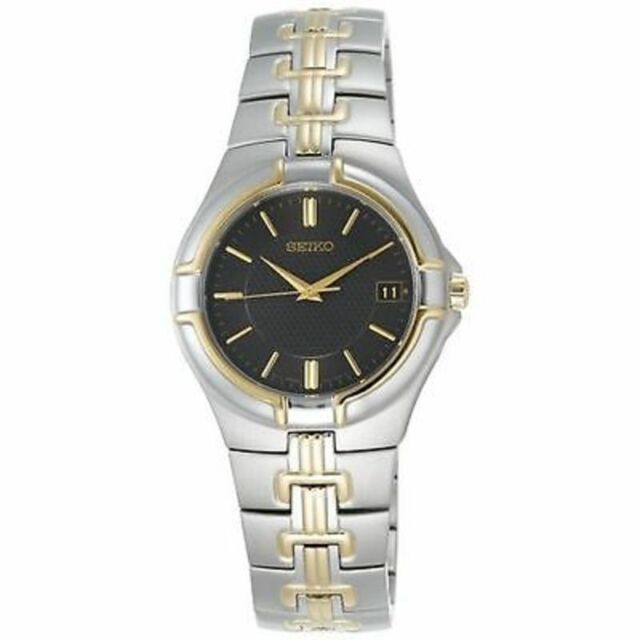 SEIKO DRESS BLACK DIAL DATE TWO-TONE STAINLESS STEEL MEN'S WATCH SGEC68 NEW