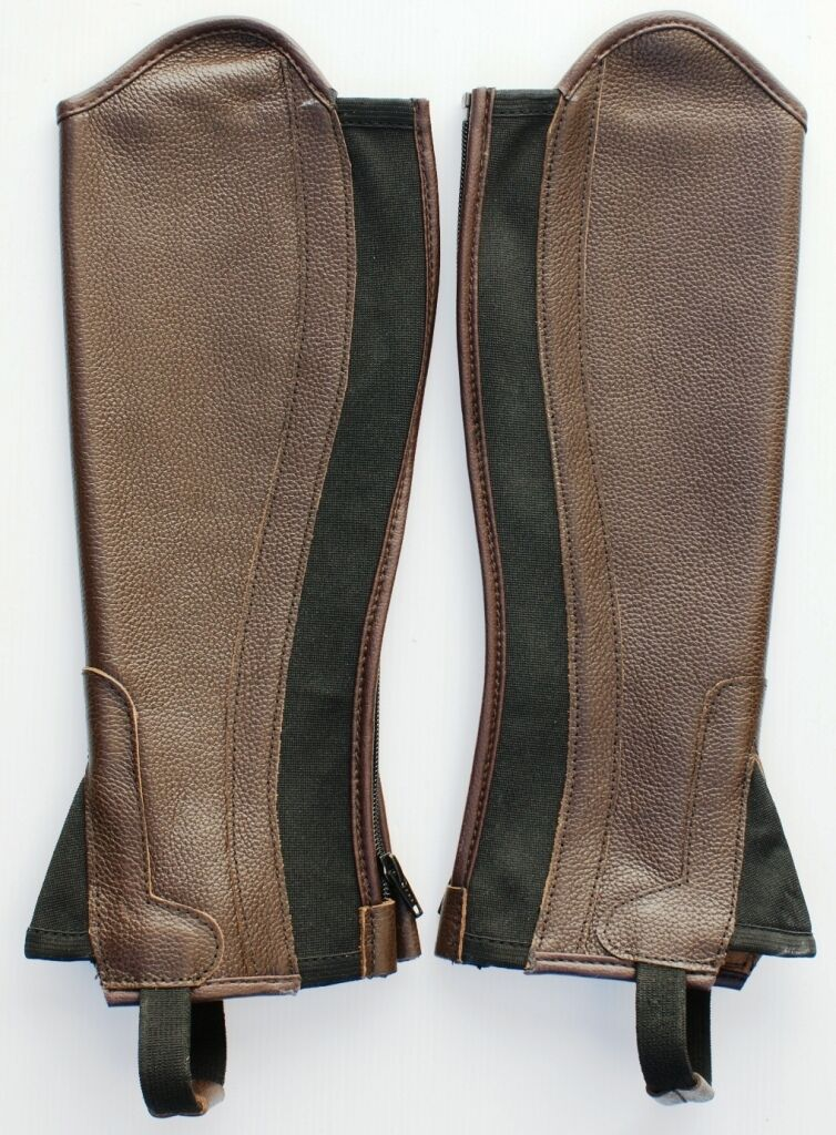 Brown Leather Half Chaps With Elastic - Kids  Adult